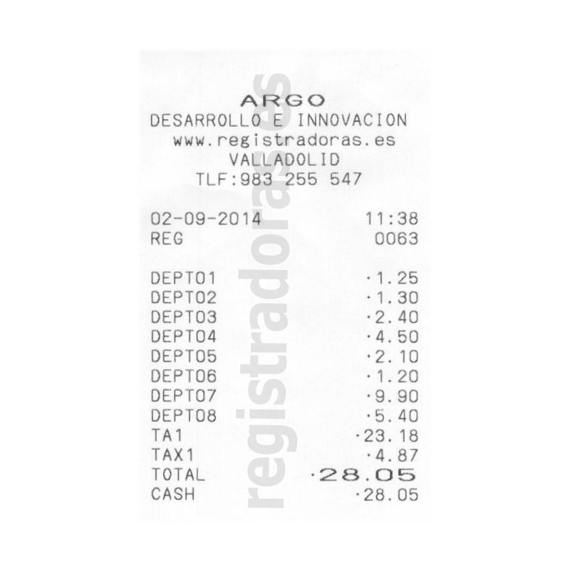 Ticket Caja Registradora CASIO SE-G1